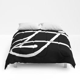 TJ Signature Logo-White on Black Comforters