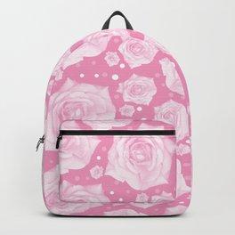 White Rose Gentle on Pink Circular Pattern Backpack