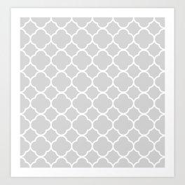 Gray & White Quatrefoil Art Print