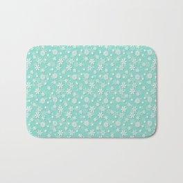 Seafoam Blue Green Christmas Snowflakes Bath Mat