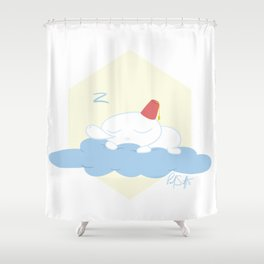Gomez Sleeping on a Cloud Shower Curtain