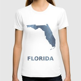 Florida map outline Dark blue clouded watercolor T-shirt