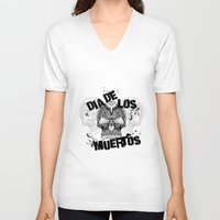 dia de los muertos V-neck T-shirts featuring Dia De Los Muertos by Digi Treats 2