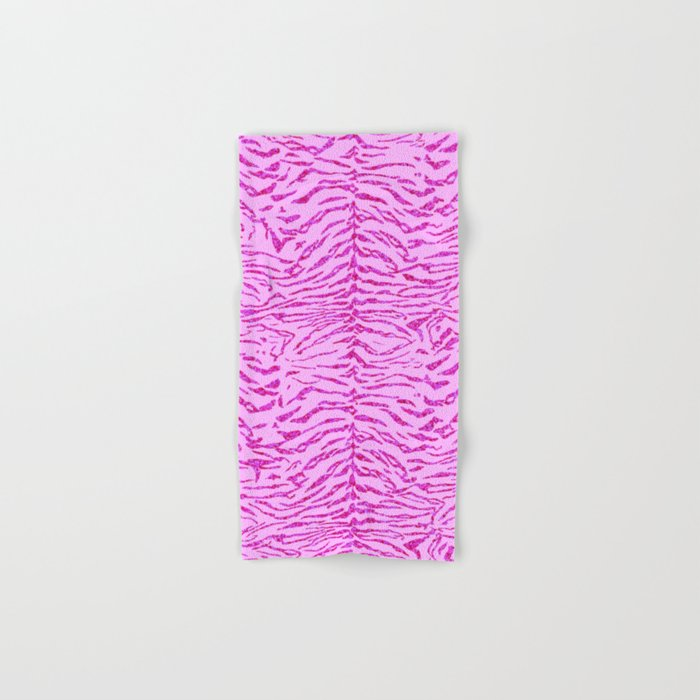 Light Pink Glitter Tiger Print Hand & Bath Towel