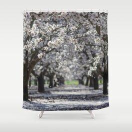 Raining White Flower Petals Shower Curtain