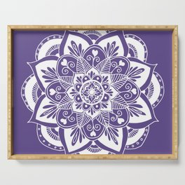 Ultraviolet Flower Mandala Serving Tray