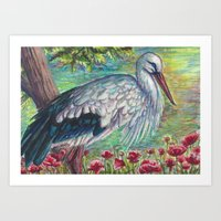 White Stork with Poppies Art Print