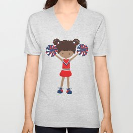 African American Girl, Cheerleaders, Red Uniform Unisex V-Neck