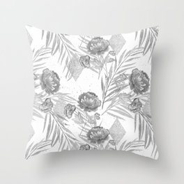 Gray flowers on a white background. Throw Pillow