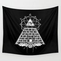 pyramid Wall Tapestries featuring Pyramid by alesaenzart