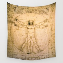 Vitruvian Man by Leonardo da Vinci Wall Tapestry