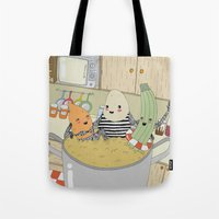 vegetable Tote Bags featuring Vegetable Soup by yellow pony