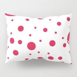 Mixed Polka Dots - Crimson Red on White Pillow Sham