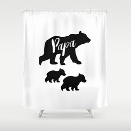 Papa Bear T Shirt with Two Cubs Shower Curtain