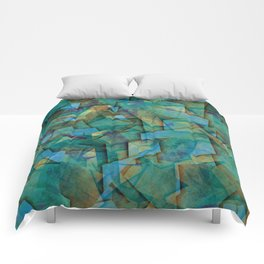 Fragments In blue - Abstract, fragmented art in blue Comforters