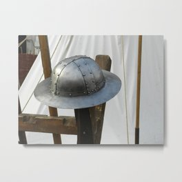 Medieval Riveted Iron Helmet Metal Print