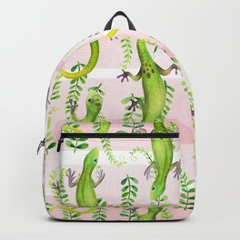 Gecko pattern on pink Backpack