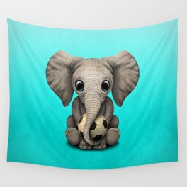 Cute Baby Elephant With Football Soccer Ball Wall Tapestry