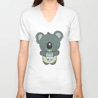 cartoons V-neck T-shirts featuring Baby koala by mangulica illustrations