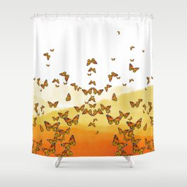 Monarch Butterflies on Watercolor Ombre Background Shower Curtain