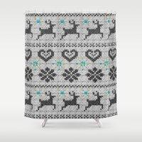 knitting Shower Curtains featuring Scandinavian Knitting (Black&White) by Vannina