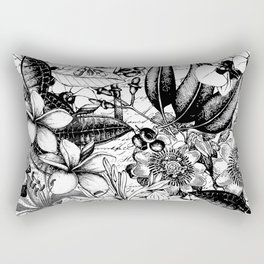Black and white tropical flower Rectangular Pillow