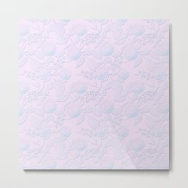 Delicate light blue roses on light pink background. Metal Print
