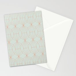 Geometry art decó in blue and orange Stationery Cards