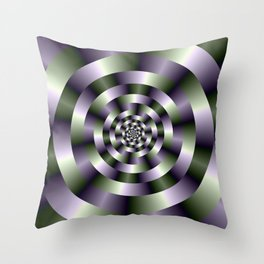Concentric Circles in Green and Purple Throw Pillow