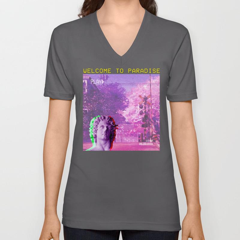 Retro Aesthetic Streetwear Gift Vaporwave Welcome to paradise Unisex V-Neck  by dc_designstudio