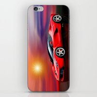ferrari iPhone & iPod Skins featuring Red Ferrari by JT Digital Art