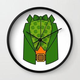 Leprechaun Tuxedo Shirt St Patricks Day Wall Clock