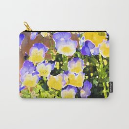 Blue and Yellow Pansies Carry-All Pouch
