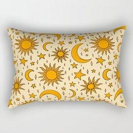 Vintage Sun and Star Print Rectangular Pillow