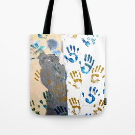 Handprints on the wall Tote Bag