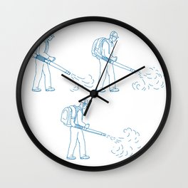 Gardener Leaf Blower Drawing Wall Clock