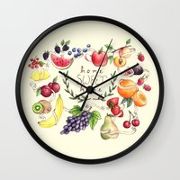 home sweet home Wall Clocks featuring Home Sweet Home by Brooke Weeber