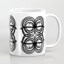 Abstract brushstrokes india ink free sprit boho painting swirl circle enso bullseye black and white Coffee Mug