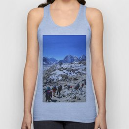 Trekking in Himalaya. Group of hikers  with backpacks   on the trek in Himalayas, trip  to the base  Unisex Tank Top