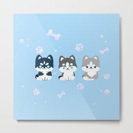 kawaii huskies Metal Print