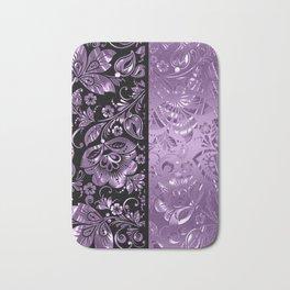 Purple & Black Damask Pattern Bath Mat