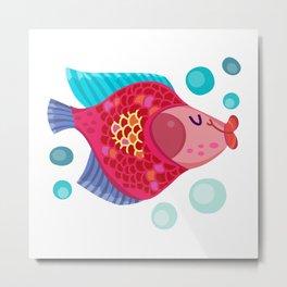 Cute Carp Fishing Metal Print