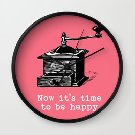 Music- Time to be happy vintage inspired Wall Clock