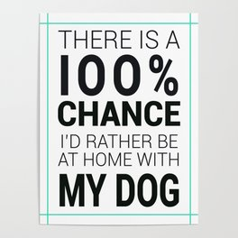 There is a 100% Chance I'd Rather be at Home with My Dog Poster