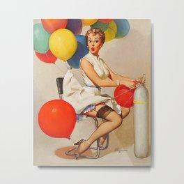 Vintage Pin Up Girl and Colorful Balloons Metal Print