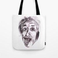 einstein Tote Bags featuring Einstein by Alicia Evans