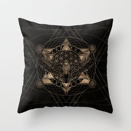 Eagle in Sacred Geometry Composition - Black and Gold Throw Pillow