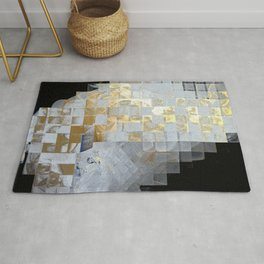 Squares in Gold and Silver Rug