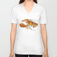 maine V-neck T-shirts featuring Maine Lobster by Tim Jeffs Art