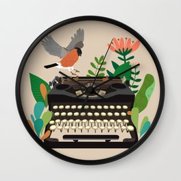 The bird and the typewriter Wall Clock